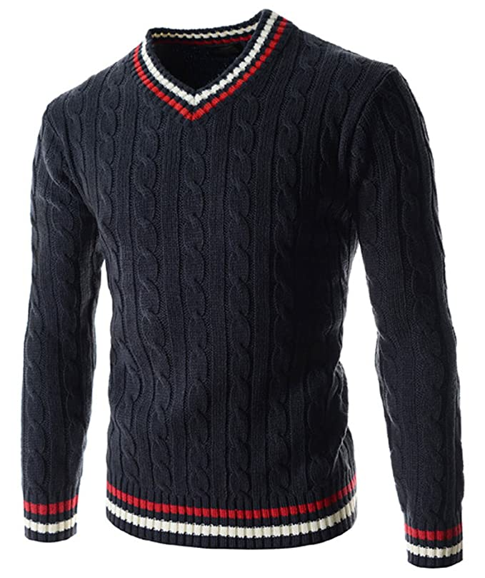 1960s Men's Sweaters Plumsika Mens Fashion V-Neck Long Sleeve Knitted Pullover Sweaters $30.26 AT vintagedancer.com