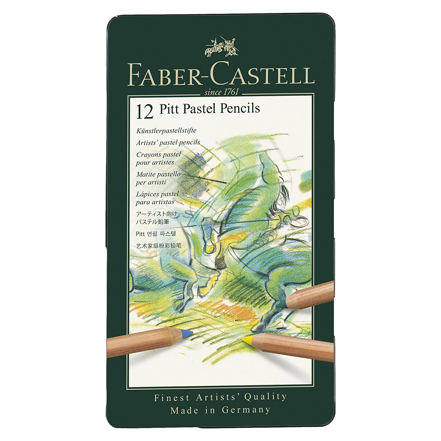 Faber-Castel FC112112 PITT Pastel Pencils In A Metal Tin (12 Pack), Assorted Notions - In Network reikos_0019522742AM_0006326
