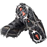 AUHIKE 18 Teeth Claws Crampons,Snow & Ice Cleat with Stainless Steel Chain for Walking Hiking Camping Mountaineering Climbing Hunting
