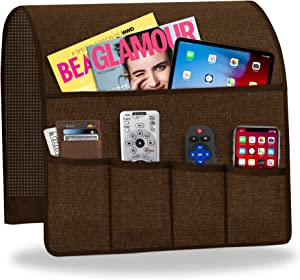 Naturoom Armchair Caddy Remote Control Holder Sofa Organizer, Non-Slip Couch Caddy Arm Chair Caddy with 6 Pockets Armchair Caddy for Smart Phone, Book, Magazines, Ipad, TV(Brown ,13'' x 35'')