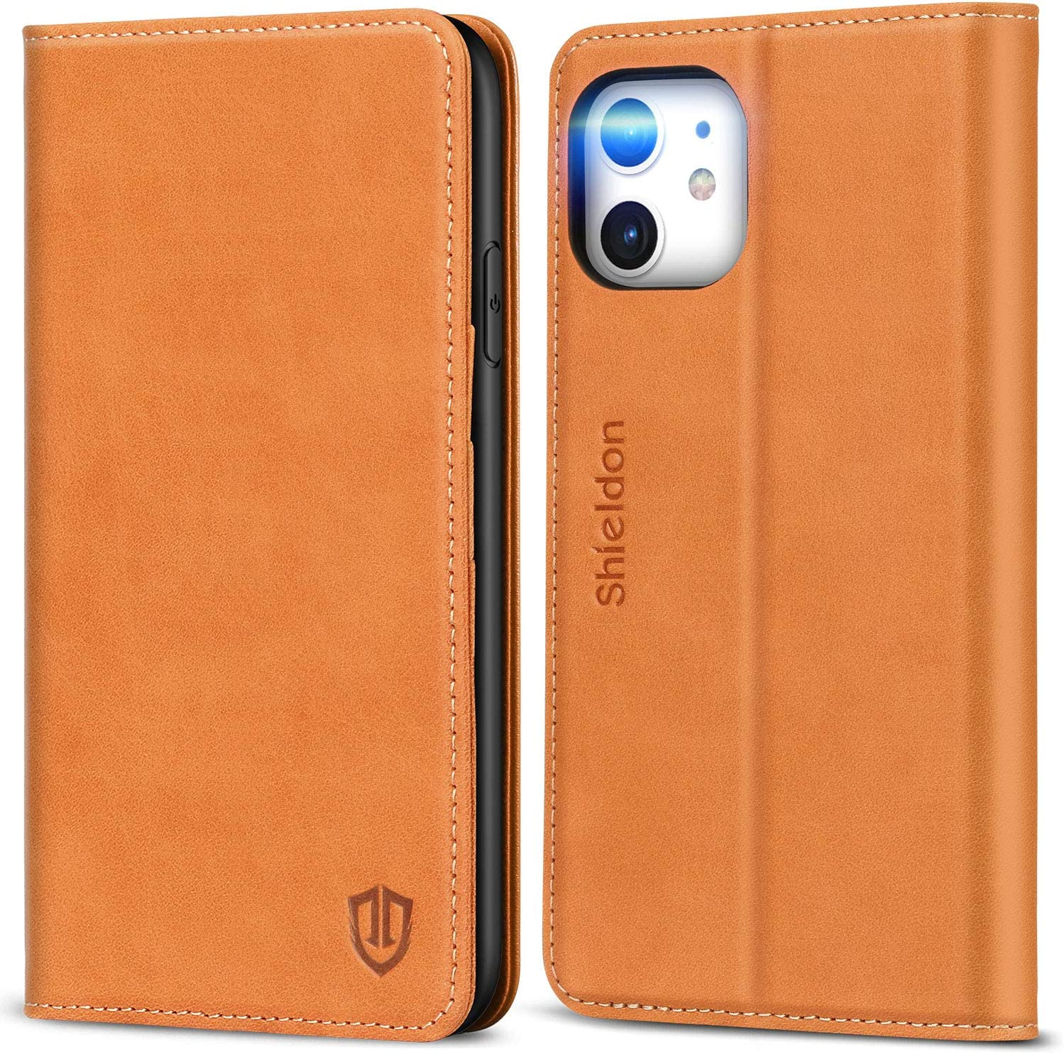 SHIELDON iPhone 11 Case, Genuine Leather iPhone 11 Wallet Case Folio Magnetic Cover Kickstand RFID Blocking Card Slots TPU Shockproof Protective Holder Compatible with iPhone 11 (6.1 Inch) - Tan Brown