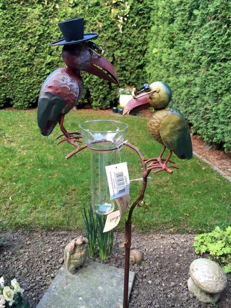 Conector de jardín Pluviómetro ° ° Cuervo ° ° Cristal de metal pájaro ° ° Multicolor ° H 136 cm °: Amazon.es: Jardín