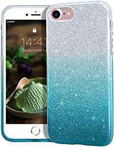 "MATEPROX iPhone SE 2020 case,iPhone 8 case,iPhone 7 Glitter Bling Sparkle Cute Girls Women Protective Case for 4.7"" iPhone 7/8/SE(Gradient Green)"