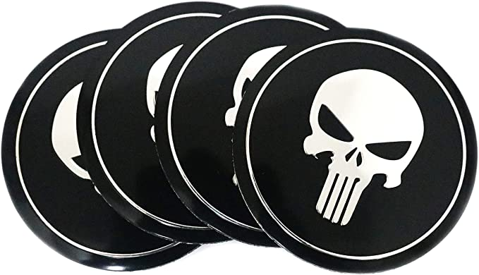 "2x METAL PUNISHER Emblem Sticker Decal 3/"" Diameter RED"