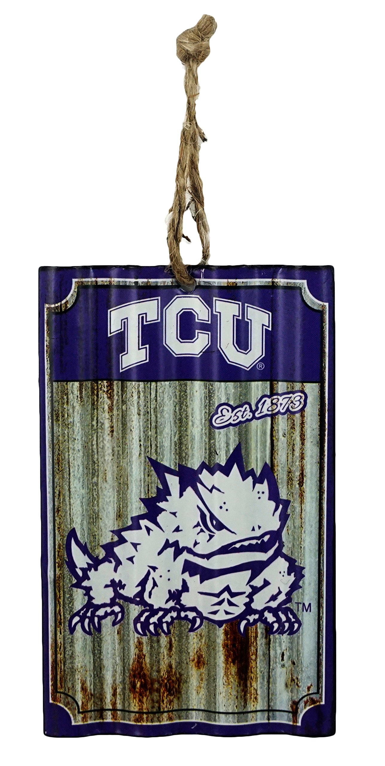 Party Explosions TCU Horned Frogs Metal Corrugate Hanging Sports Ornament