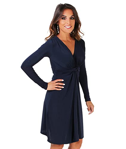 KRISP Women's Fashion Elegant Knot Front Soft Stretch Long Sleeve V Neck Dress US 4-16