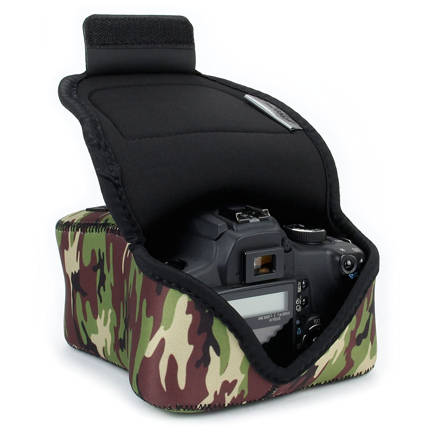 DSLR Camera Case / Camera Sleeve (Geometric) w/Neoprene Protection, Holster Belt Loop and Accessory Storage by USA Gear - Works With Nikon D3400 / Canon EOS Rebel SL2 / Pentax K-70 & Many More DSLRs Accessory Power GRFAFSL110GMEW