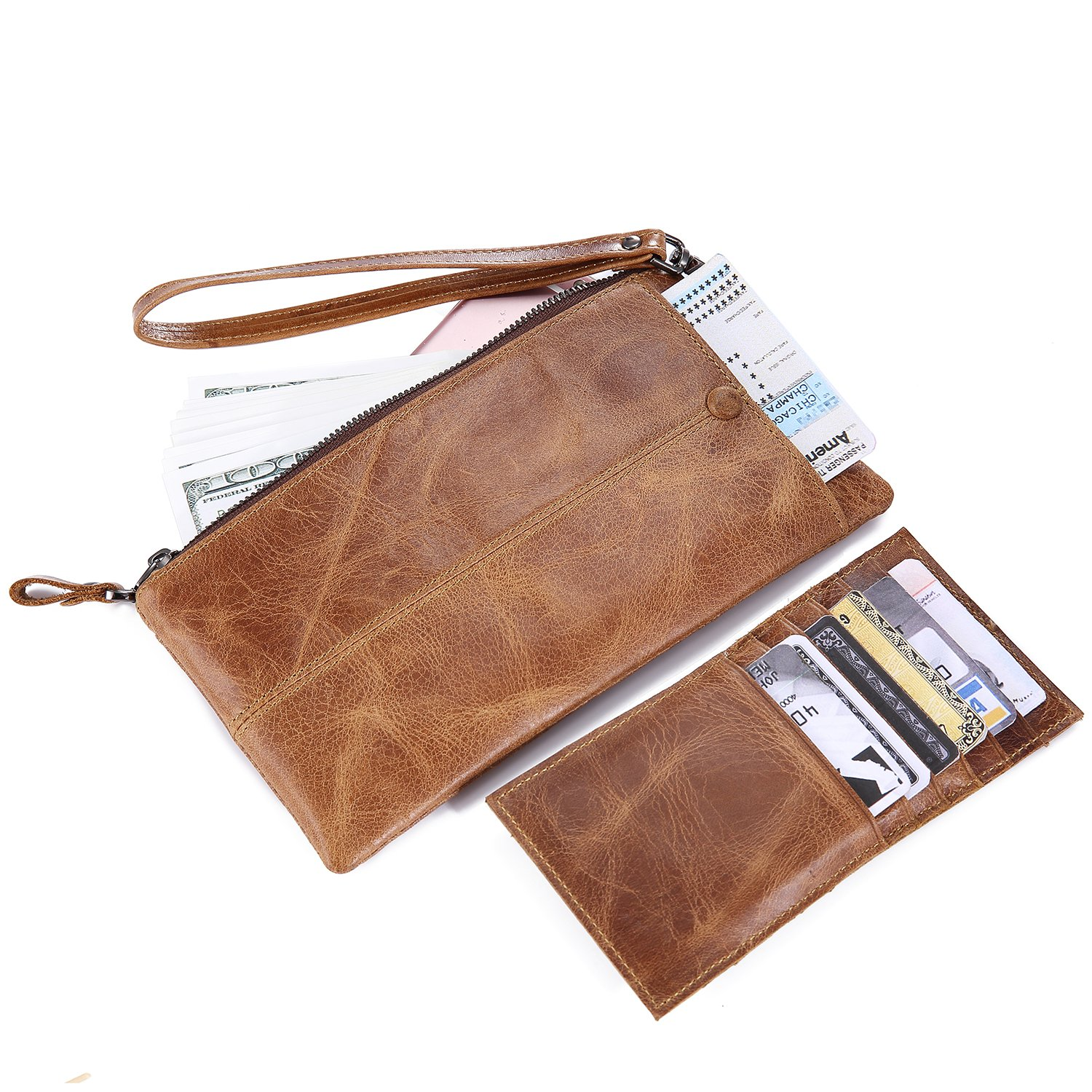 IVESIGN Zipper Wallet RFID Blocking Credit Card Holder Genuine Leather With Wristlet by IVESIGN (Image #5)