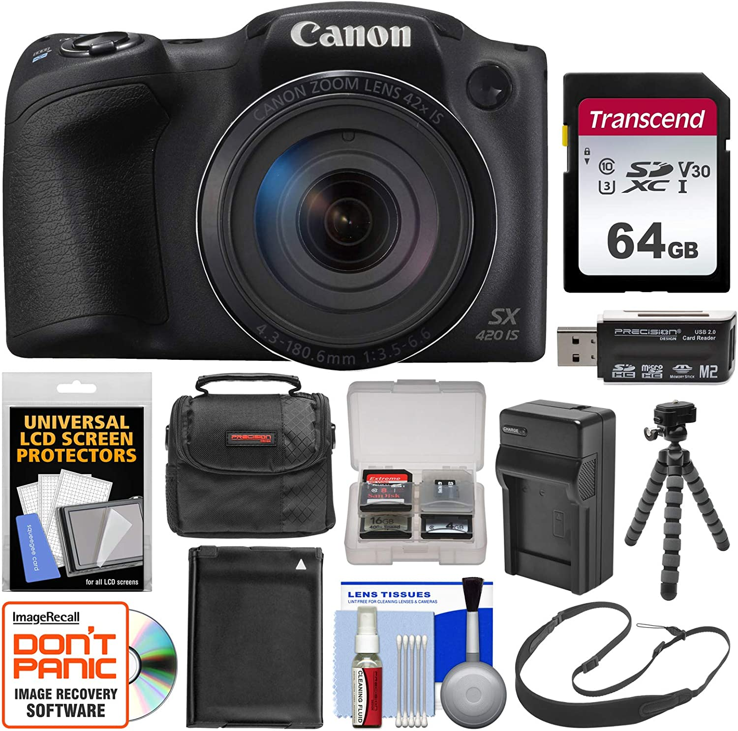 Canon PowerShot SX420 is Wi-Fi Digital Camera (Black) with 64GB Card + Case + Battery & Charger + Flex Tripod + Sling Strap + Kit