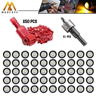 MadCatz Kit 50 Pcs 3/4 Inch Round Clear Lens Amber LED 12V DC Side Marker Lights with Rubber + 50 Pairs T-Tap Wire Connector 18-22 AWG Include Hole Saw Set 19mm for Trailer Truck RV Universal Vehicle: Automotive