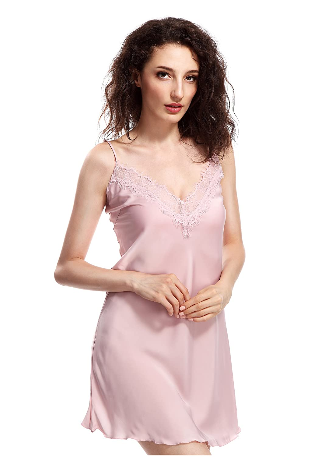 BellisMira Sexy Lace Satin Chemise Nightwear Full Slip Silk Sleepwear Padded/Unpadded Sleep Dress Silky Nightie Nightdress for Women