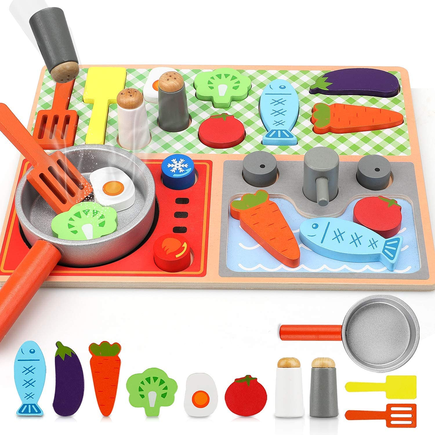 TOY Life Toy Wooden Kitchen Sets for Kids - Wooden Puzzles for Toddlers - Wooden Play Kitchen Accessories - Wooden Play Food Toys for Kids - Play Cooking Set - Toy Stove Toys for Kids 3 4 5 6 7