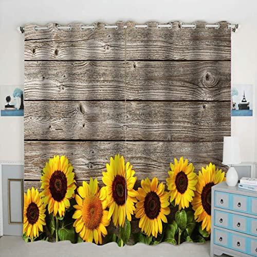 QH Autumn Sunflowers Window Curtain Panels Blackout Curtain Panels Thermal Insulated Light Blocking 42W x 84L inch Set of 2 Panels