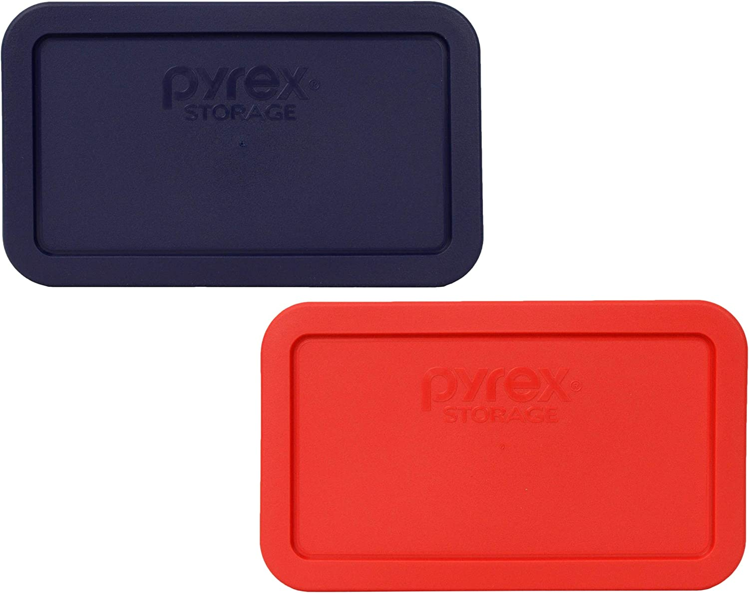 Pyrex 7214-PC (1) Dark Blue and (1) Red 4.8 Cup Rectangular Plastic Lids