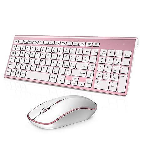 Tastiera e Mouse Wireless,Full size Tranquilla Slim Tastiera