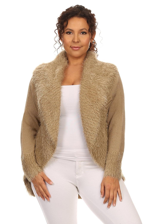 6fc3b870fa8f Women s Plus Size Cocoon Style Mocha Open Front Cardigan durable modeling