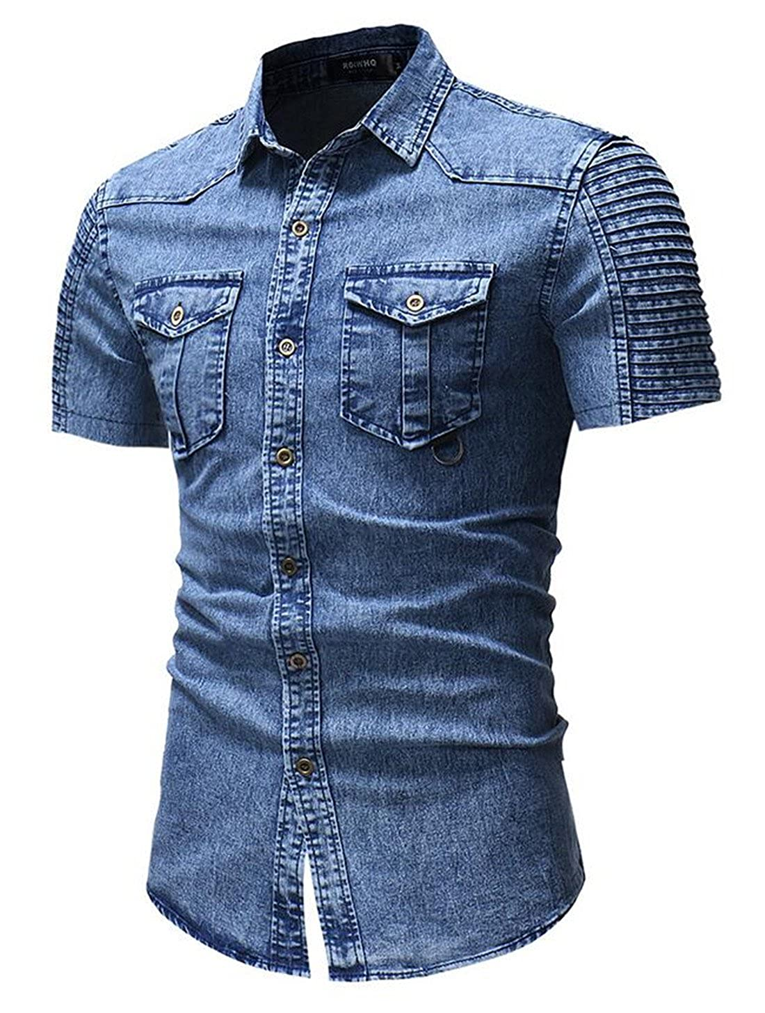 BLTR Men Summer Cotton Short Sleeve Slim Fit Button Down Denim Shirt