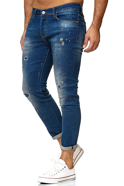 Redbridge Hommes Jeans Slim Fit Taches D/étruit Effet Designer Pantalon Mode Jean
