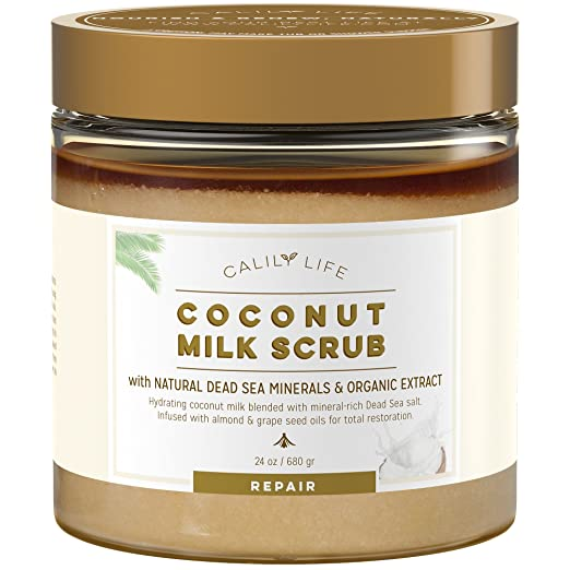 Calily Life Organic Coconut Milk Scrub with Dead Sea Minerals, 24 Oz. – Deep Moisturizing and Nourishment - Exfoliates, Clears Eczema, Removes Wrinkles, Gets Skin Vibrant and Revitalized