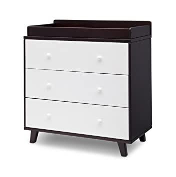 Delta Children Ava 3 Drawer Dresser Changing Top, Black Espresso/White