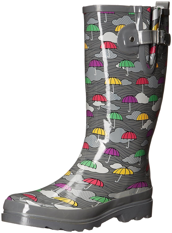Western Chief Women's Waterproof Printed Tall Rain Boot B01EUI1HXG 9 M US Umbrella Clouds