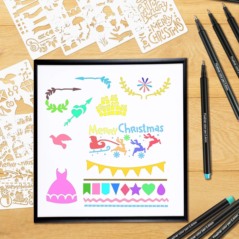 Gifort Fineliner Penne Pennarelli a Punta Fine da 0,4 mm per Schizzi Disegno Scrittura Mandala Manga Comic Uso Scolastico e dUfficio Set di Penne Fineliner in 24 Colori Brillanti
