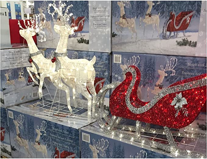 Large Sleigh With 2 Deer Christmas Xmas Outdoor Indoor Led