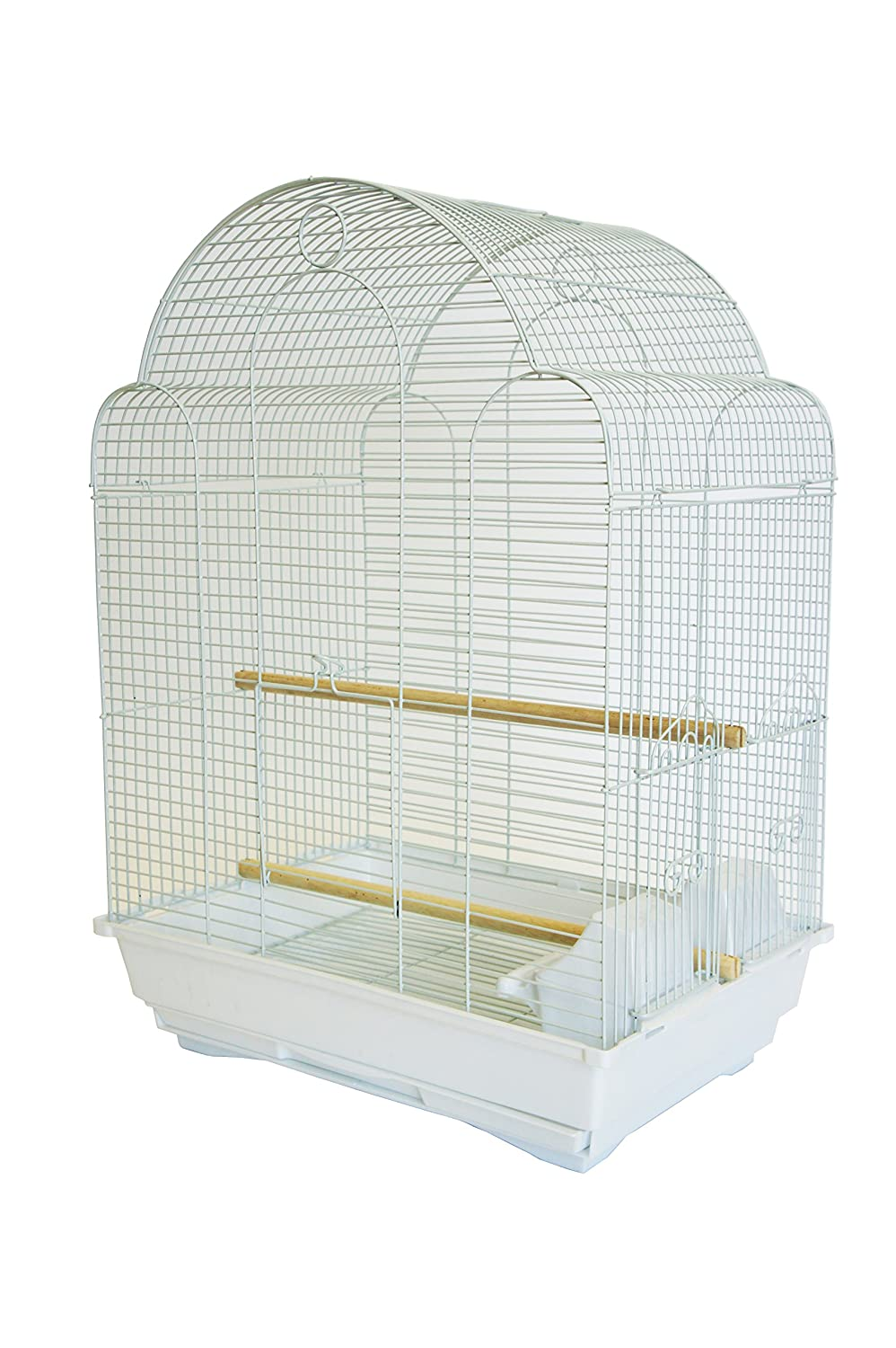 YML A1704 Bar Spacing Shell Top Bird Cage, White A1704WHT