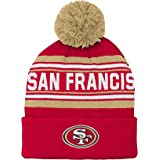 7b26ed340eb Outerstuff NFL Boys San Francisco 49ers Kids   Youth Boys Jacquard Cuffed  Knit Hat with Pom