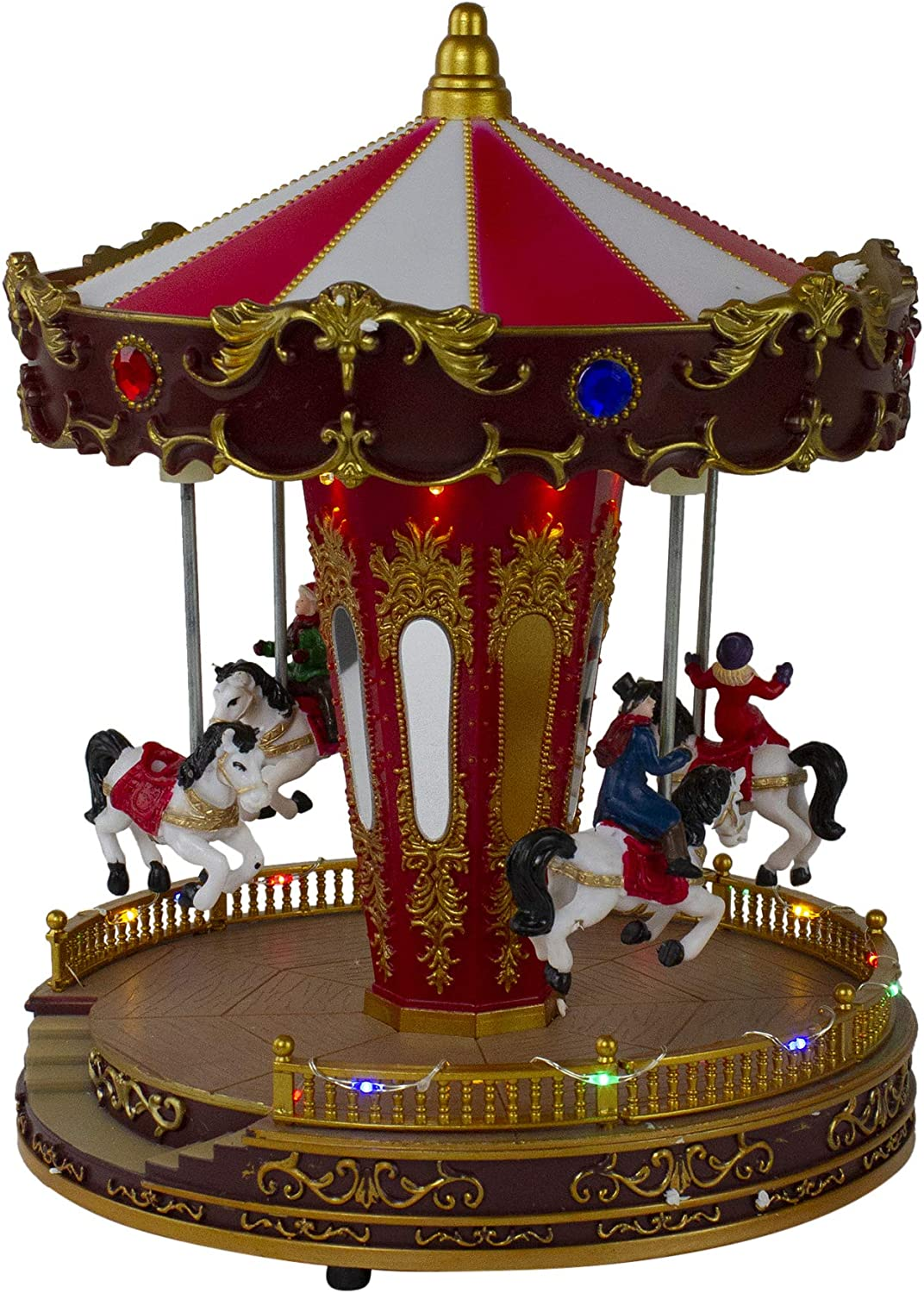 Northlight 11 LED Lighted and Animated Christmas Carousel with Horses