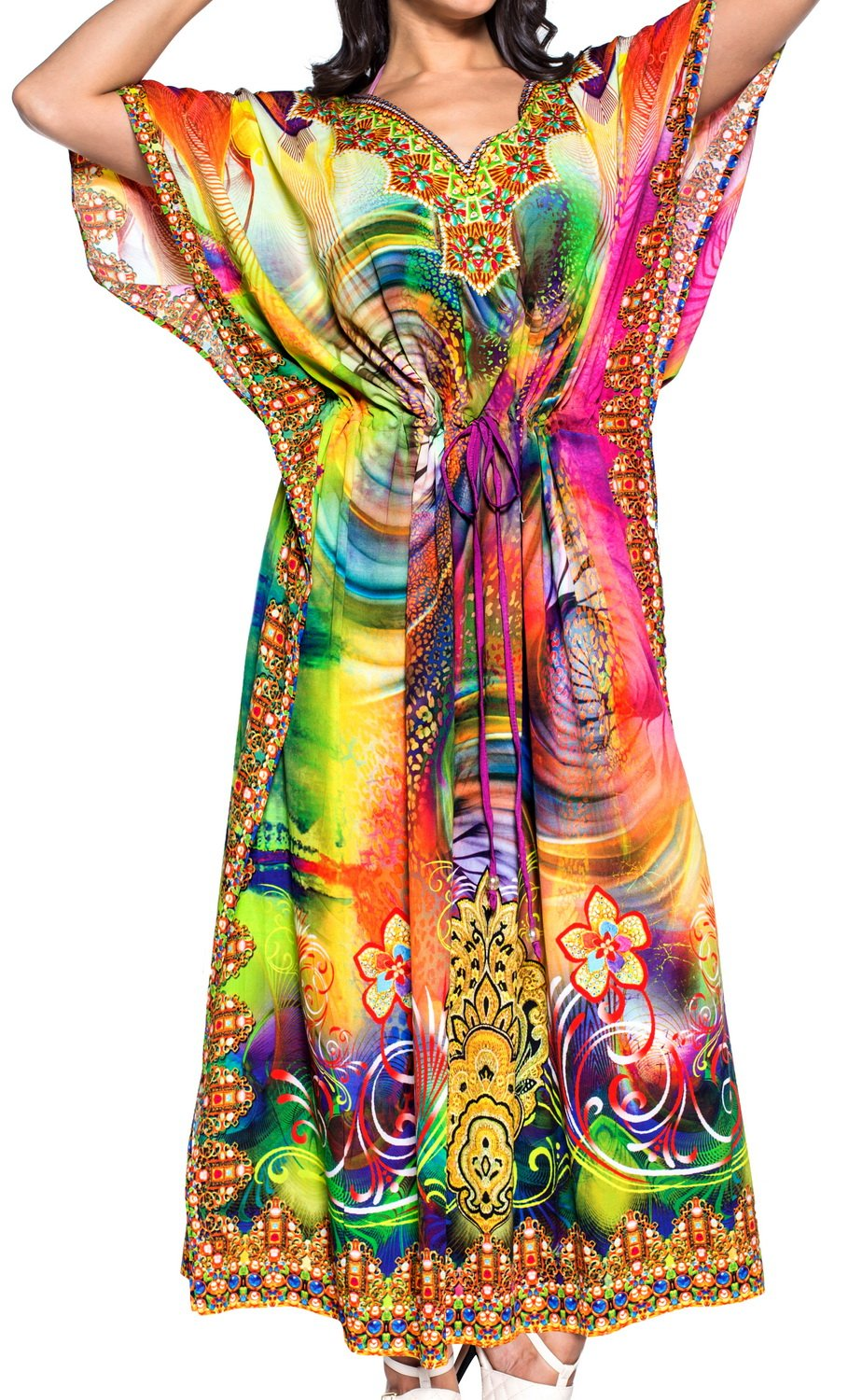 LA LEELA Soft Fabric Digital HD Print Casual Dress Girls OSFM 14-22 [L-3X] Multicolor_3575