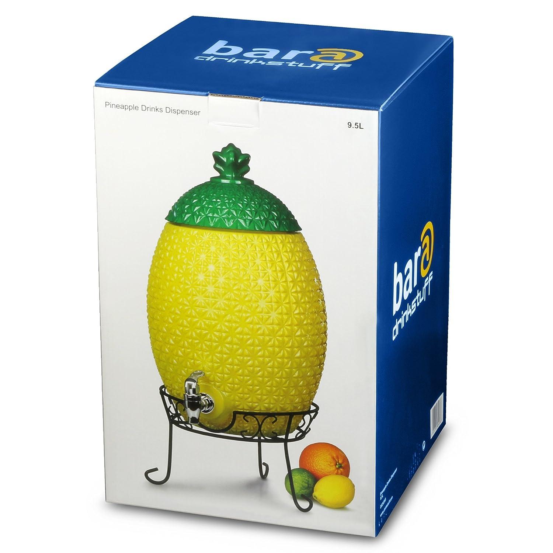Piña Forma Cristal dispensador De Bebida con soporte (9,5 L - Grande dispensador de bebidas: Amazon.es: Hogar