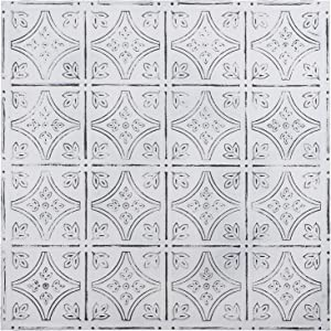Holydecot Tin Wall Tiles 24x24 Nail-Up Tin Wall Tile, 5 Pack (Antique White)