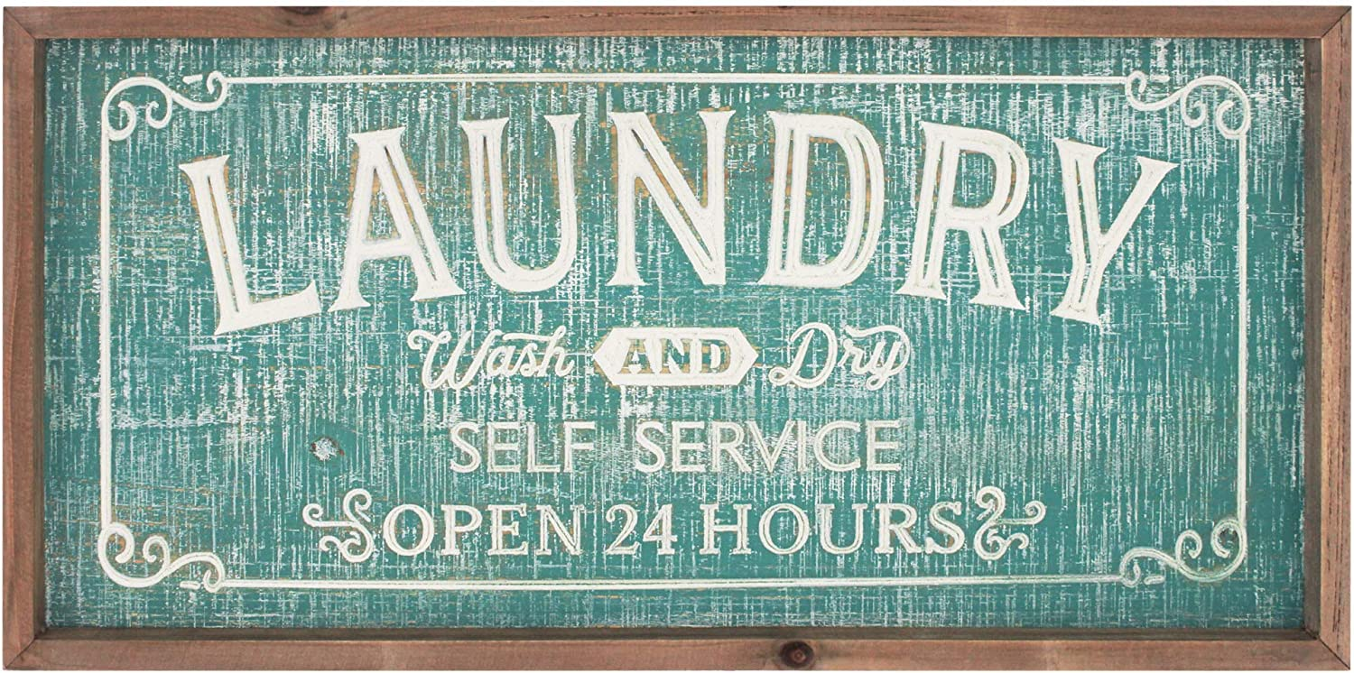 Funly mee Farmhouse Wooden Laundry Wall Plaque Sign with Carved Letters ,Rustic Laundry Room Wall Decor Art with Solid Wood Frame(24x12.2 Inch)