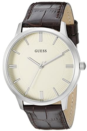 GUESS Mens U0664G2 Dressy Silver-Tone Watch with Plain White Dial and Genuine Leather Strap