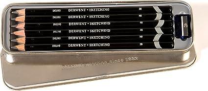 Derwent Sketching - Set de 6 lápices estaño + sacapuntas, en estuche metálico: Amazon.es: Oficina y papelería