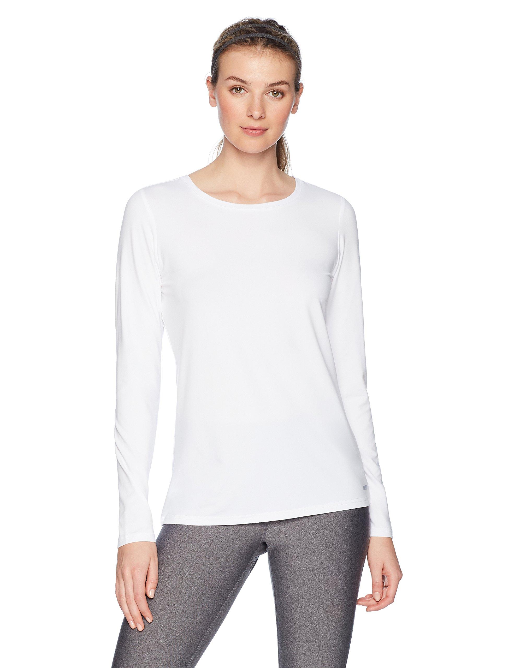 Amazon Essentials Women's Standard Tech Stretch Long-Sleeve T-Shirt, White, Large