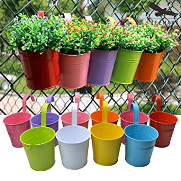 Hanging Flower Pots,Out Topper Balcony Garden Plant Planter Metal Iron Mini  Flower Seedlings Brigade