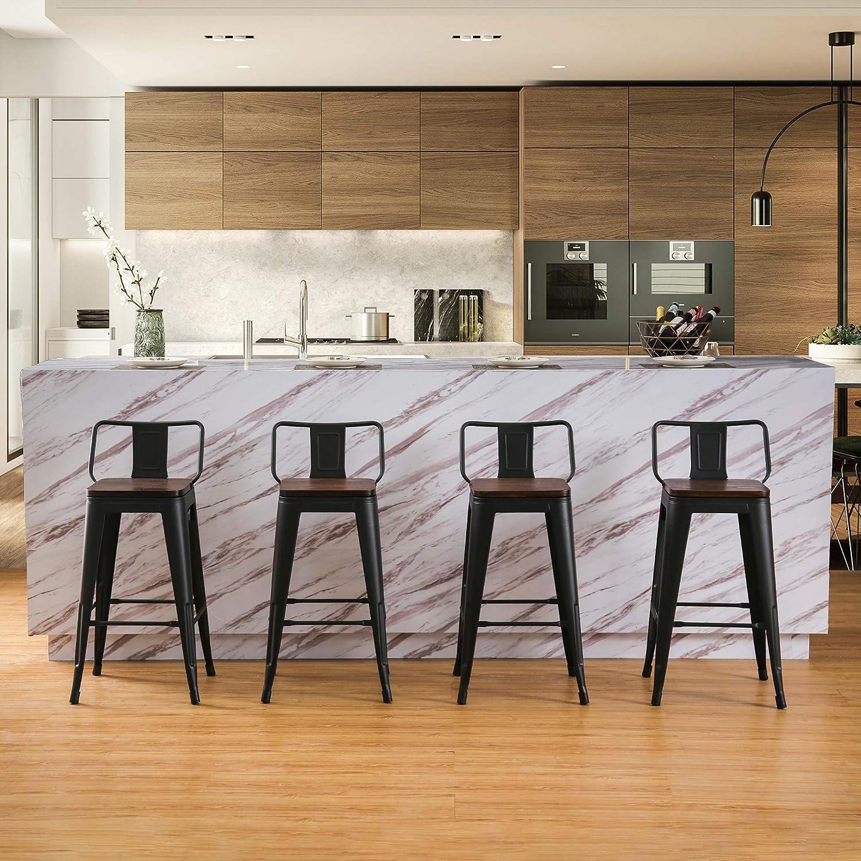 Amazon Com 24 Inch Metal Bar Stools Counter Stool Modern Barstools Industrial Bar Stools Set Of 4 24 Inch Black Home Kitchen