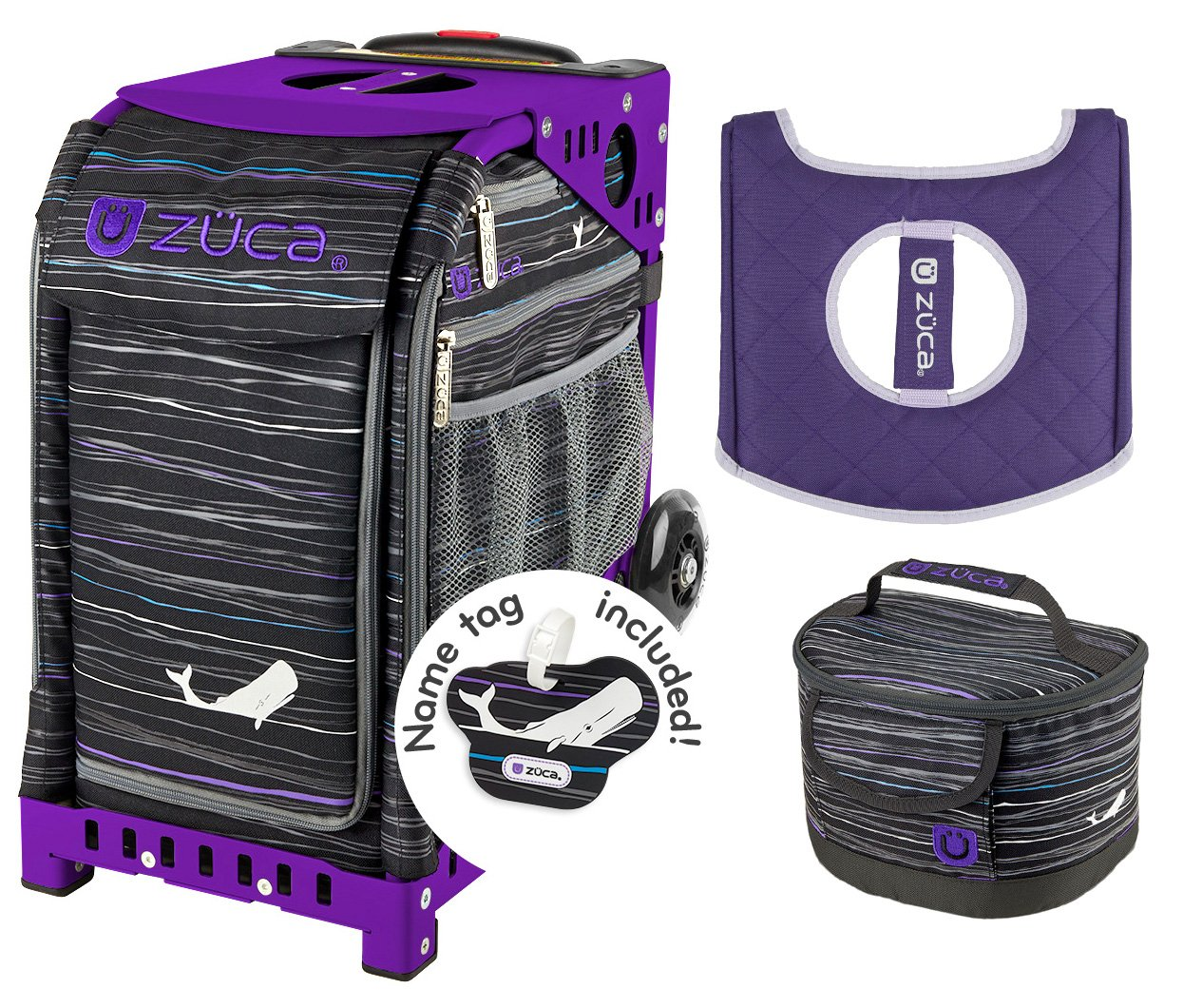 Zuca Sport Bag - Moby Dick with Gift Lunchbox and Seat Cover (Purple Frame)