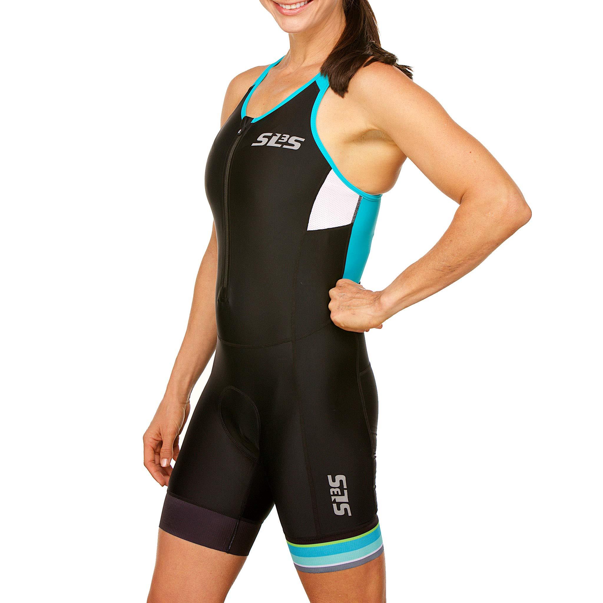 SLS3 Women`s Triathlon Tri Race Suit FRT | Womens Trisuit | Back Pocket Triathlon Suits | Anti-Friction Seams | German Designed (Black/Martinica Blue, XS) by SLS3 (Image #4)