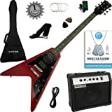 Stretton Payne Flying V Electric Guitar with practice amplifier, padded bag, strap, lead, plectrum, tuner, spare strings. Guitar in Cherry Red