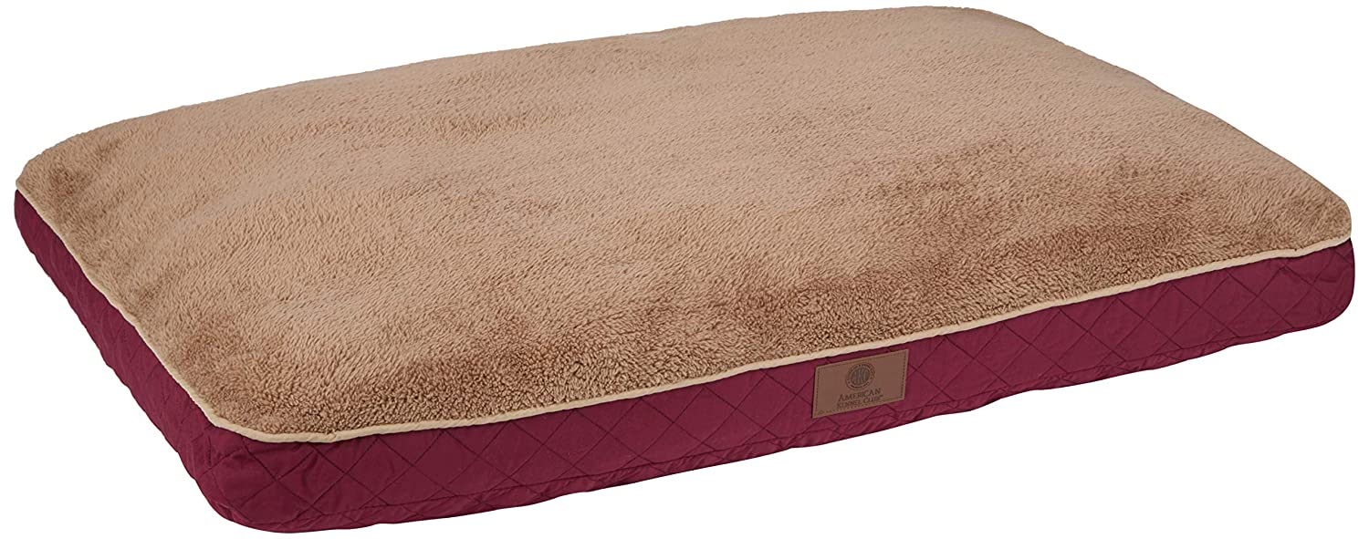BURGUNDY American Kennel Club AKC9690BURGUNDY Diamond Stitched Reversible Pet Gusset Bed