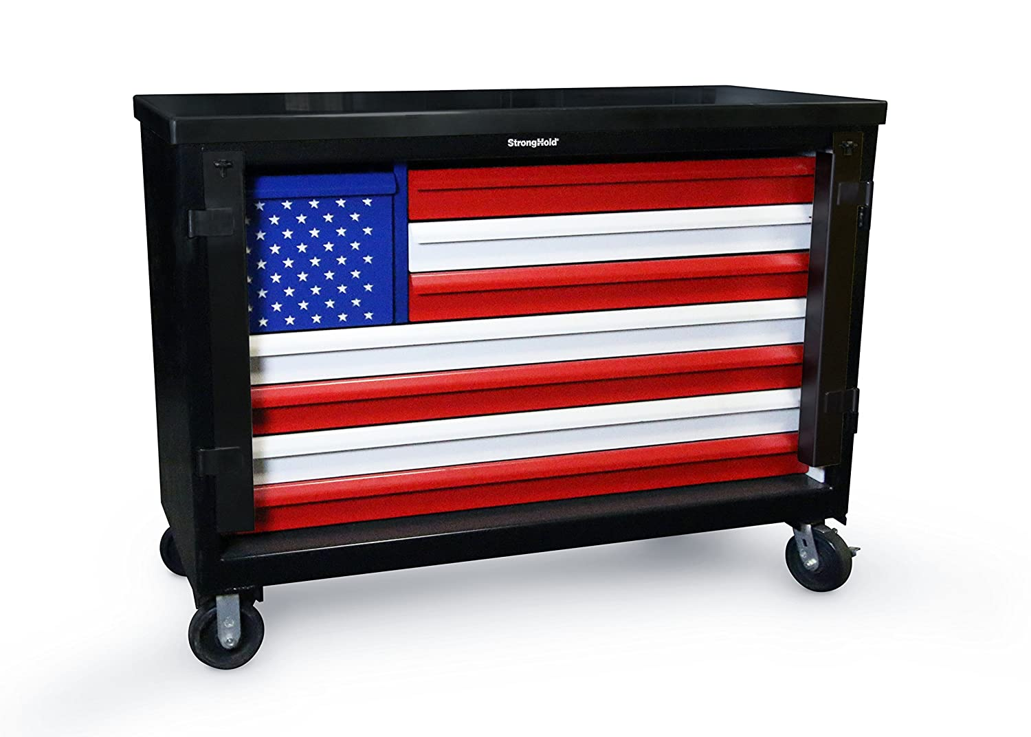 """Strong Hold, American Pride Special Edition, 60"""" W, 8 Drawer Heavy-Duty Rolling Tool Box/Cart, 400 lbs. Capacity Drawers, 12 Gauge Steel Top, TC-21061"""