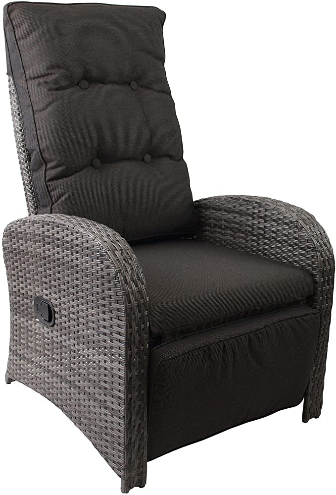 #106058 Polyrattan Liegestuhl Bob inklusive Auflage! KMH/® schwarzes Polyrattan - anthrazitfarbene Auflage