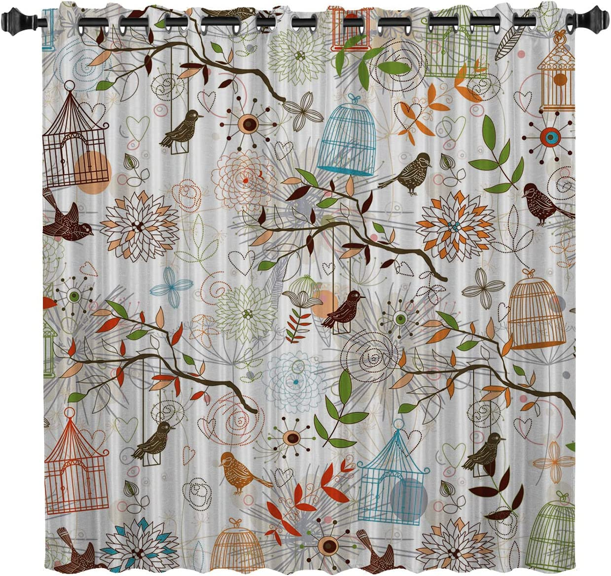 TocaHome Blackout Grommet Curtains Thermal Insulated Light Blocking Curtains Cartoon Hand-Painted Bird and Birdcage 52 by 96 Inch One Panels