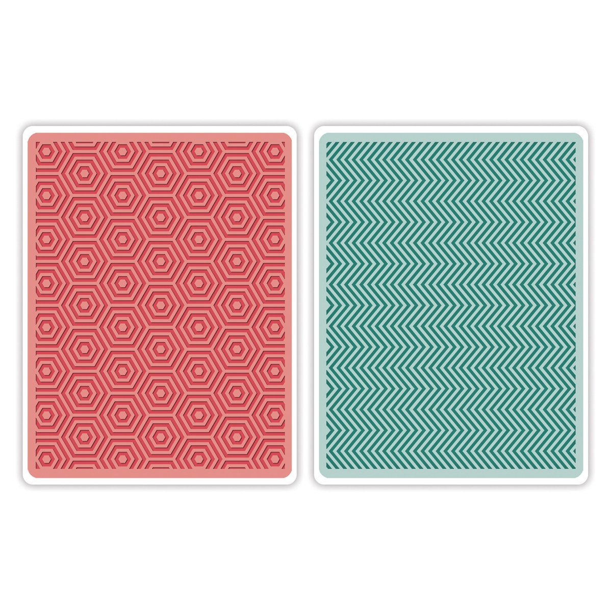 Sizzix Textured Impressions A2 Embossing Folders 2/Pkg-Hexagons & Chevrons By Echo Park 659744
