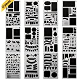 GP Life Bullet Journal Stencil Set, Plastic Drawing Journal Planner for Notebook Diary Scrapbook Craft Projects, Set of 12 Pieces-4×7 Inch