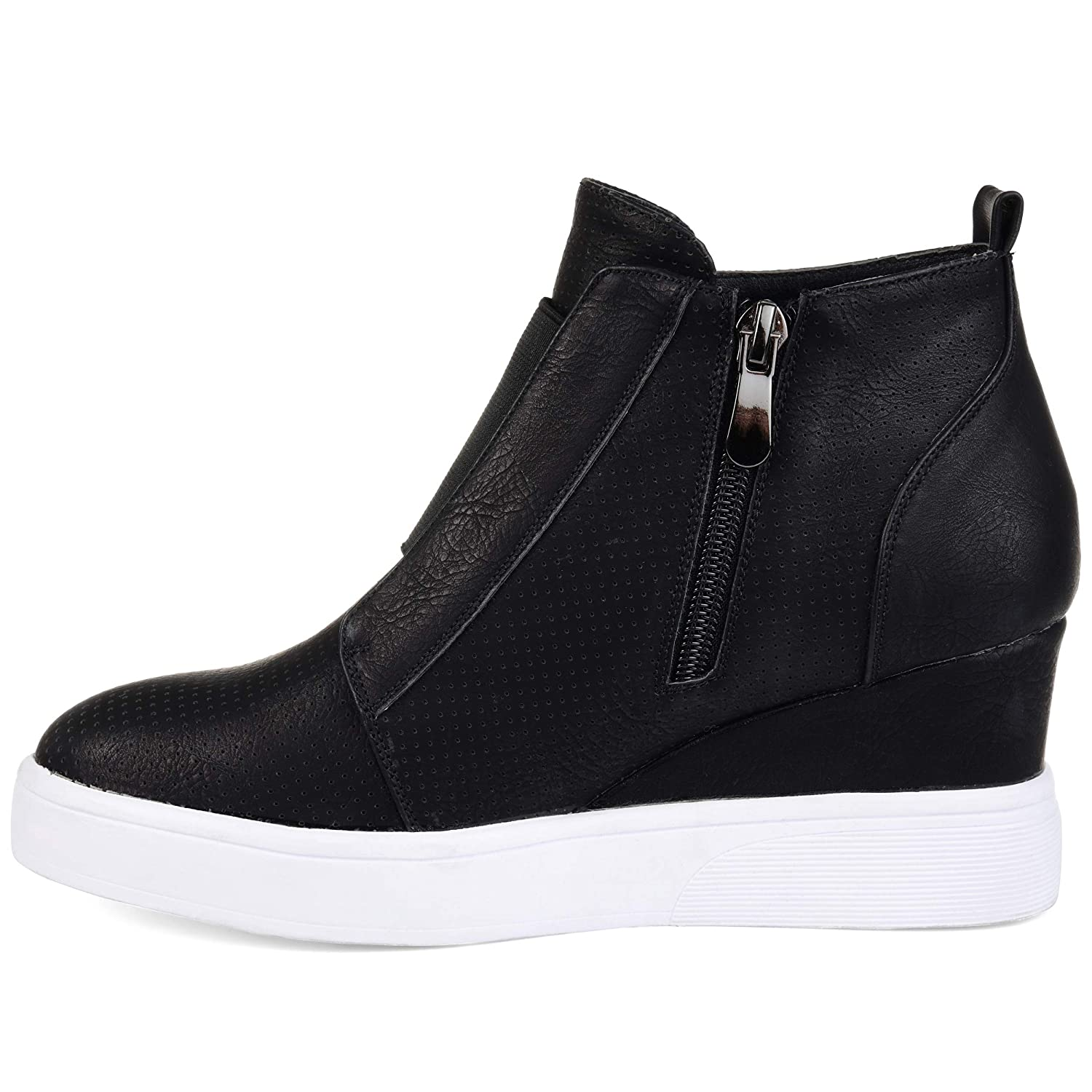 e82dd5ef00 Amazon.com | Journee Collection Womens Athleisure Laser-Cut Side-Zip Sneaker  Wedges | Fashion Sneakers