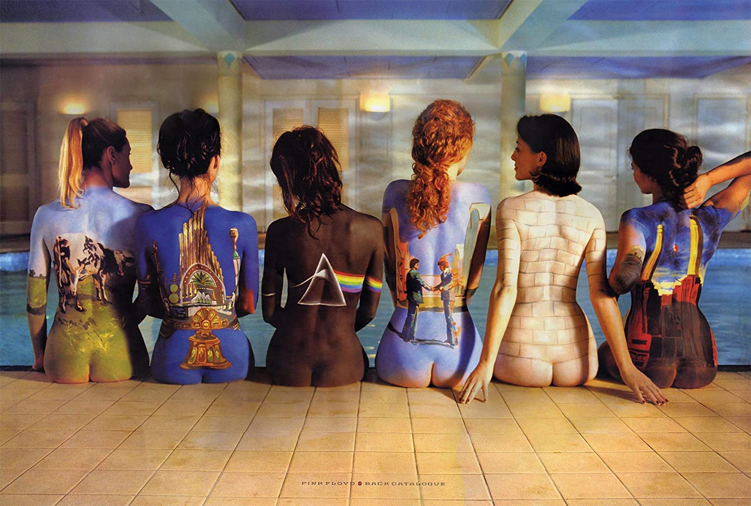 Pink Back Catalogue Floyd Poster for 80s Retro Room Aesthetic, Wall Decor, 17 by 11 inches, Not Framed, Memorabilia Gifts for Guys, Darkside of the Moon Vinyl Records, Rock Art, Premium Silk Art Print